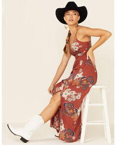 Angie Women's Floral Twist Maxi Dress, Brick Red, hi-res