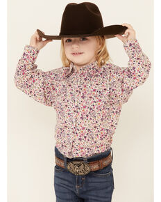 Shyanne Toddler Girls' Pink Ditsy Floral Print Long Sleeve Snap Western Shirt , Fuscia, hi-res
