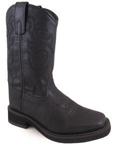 Swift Creek Boys' Roper Western Boots - Square Toe, Black, hi-res