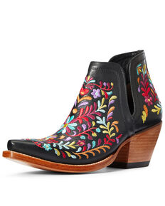 Ariat Women's Dixon Floral Fashion Booties - Snip Toe, Black, hi-res