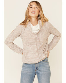 Hem & Thread Women's Taupe Turtleneck Pullover Sweater , Taupe, hi-res