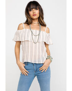 108a6d9e5fb004 Shyanne Women s Striped Cold Shoulder Top