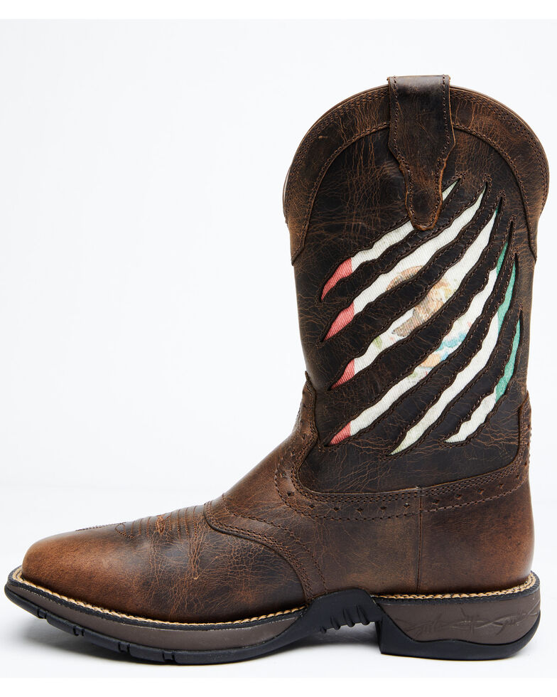 Cody James Men's Mexican Flag Western Boots - Wide Square Toe, Brown, hi-res