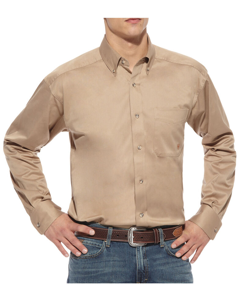 Ariat Men's Solid Khaki Twill Long Sleeve Western Shirt - Big & Tall, Khaki, hi-res