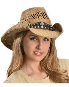 Bullhide More Than Words Panama Straw Cowgirl Hat, Pecan, hi-res