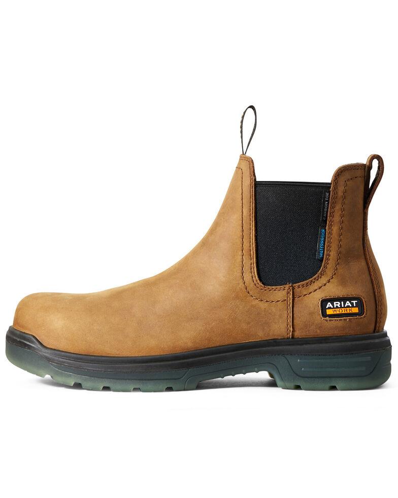 Ariat Men's Waterproof Turbo Chelsea Work Boots - Carbon Toe, Brown, hi-res