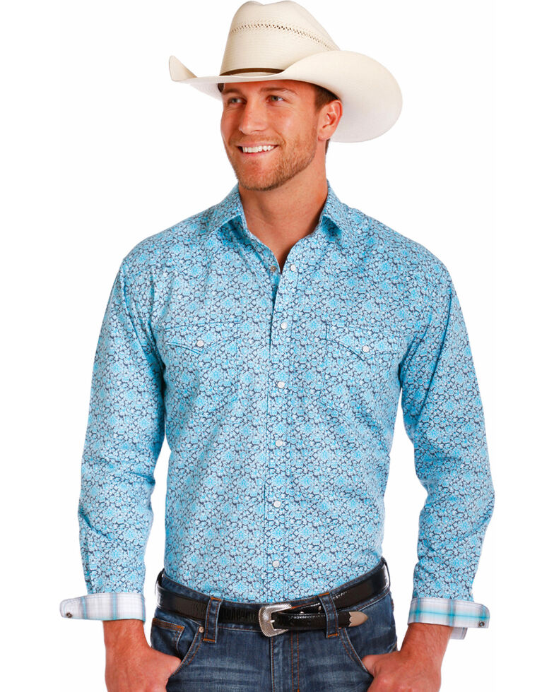 Rough Stock by Panhandle Men's Light Blue Geo Print Long Sleeve Western Shirt , Grey, hi-res