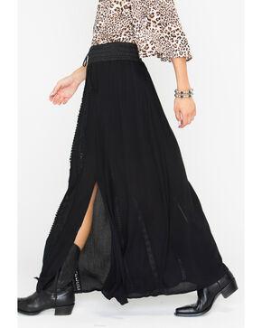 HYFVE Women's Button Down Crochet Inset Maxi Skirt, Black, hi-res