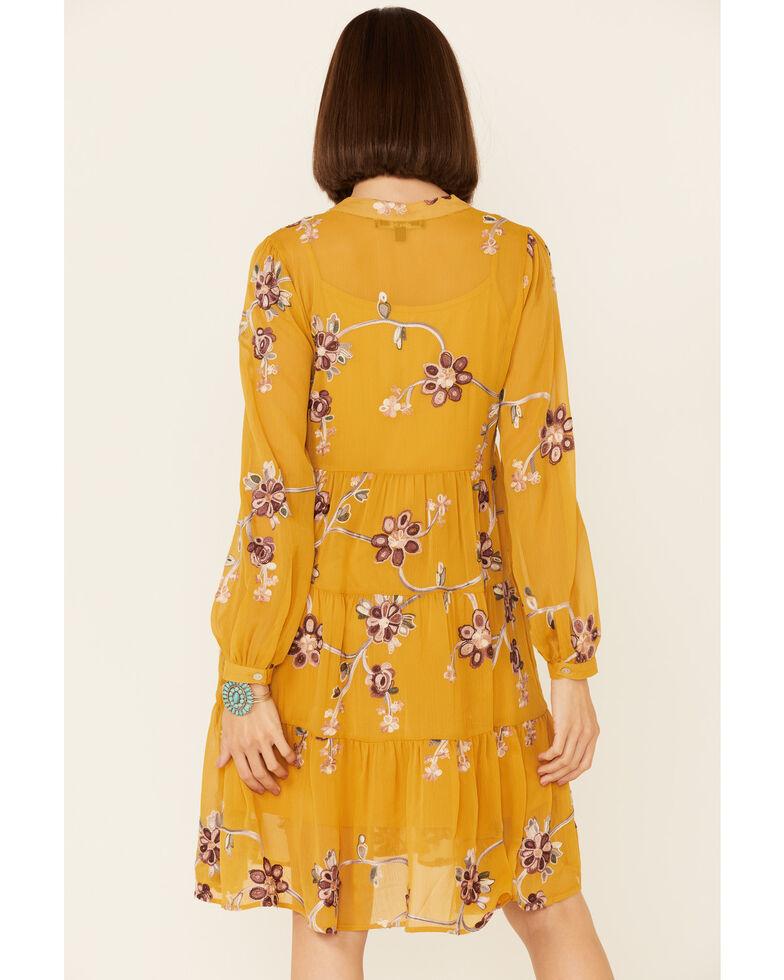 Olive Hill Women's Floral Odessa Dress, Mustard, hi-res