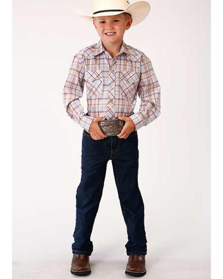 Roper Boys' Classic Tan Plaid Long Sleeve Western Shirt , Tan, hi-res