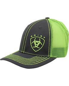 Ariat Men's Grey Offset Logo Mesh-Back Ball Cap , Green, hi-res