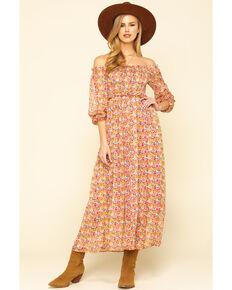 Molly Bracken Women's Pink Print Smock Dress , Pink, hi-res