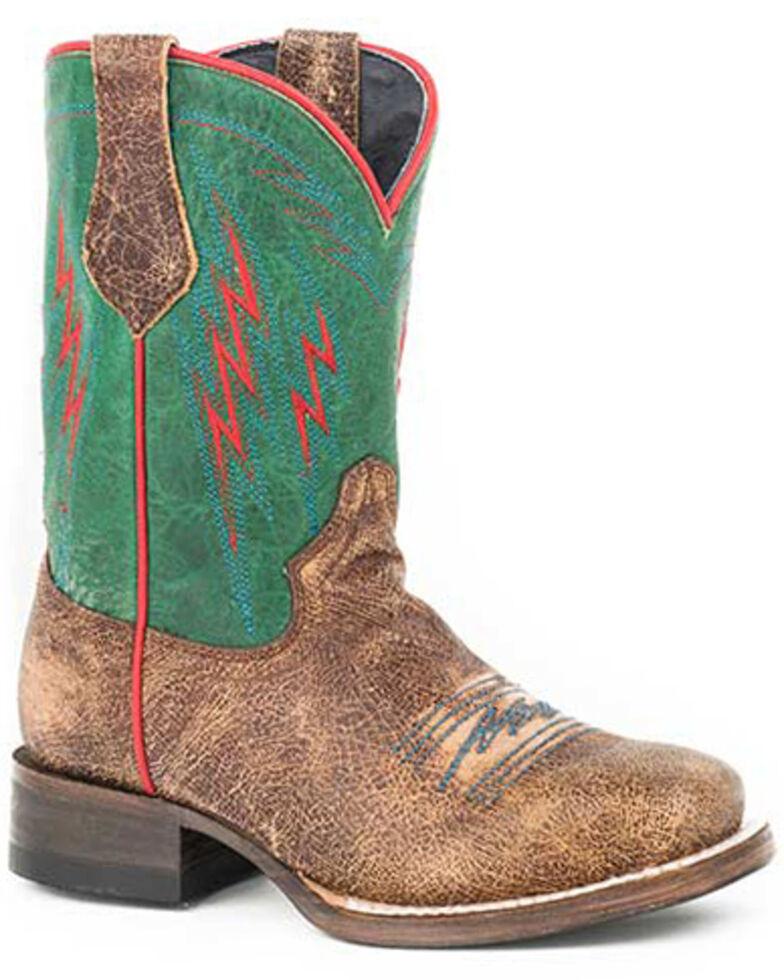 Roper Girls' Thunder Western Boots - Square Toe, Tan, hi-res