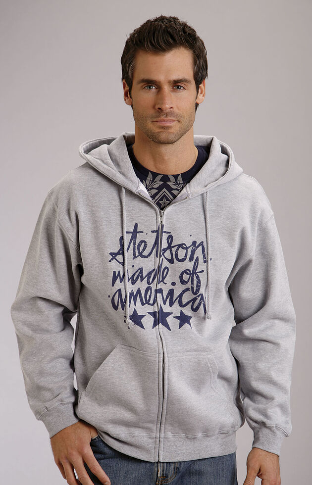 "Stetson Grey ""Made in America"" Zipper-Front Hooded Sweatshirt, Grey, hi-res"
