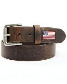 Hawx Men's Brown Leather Flag Tip Belt, Brown, hi-res