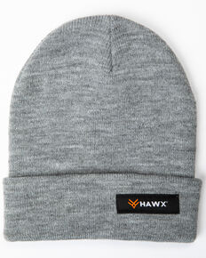 Hawx® Men's Heather Grey Logo Bar Beanie, Heather Grey, hi-res