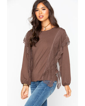 Angel Premium Women's Magda Mesh Top , Taupe, hi-res