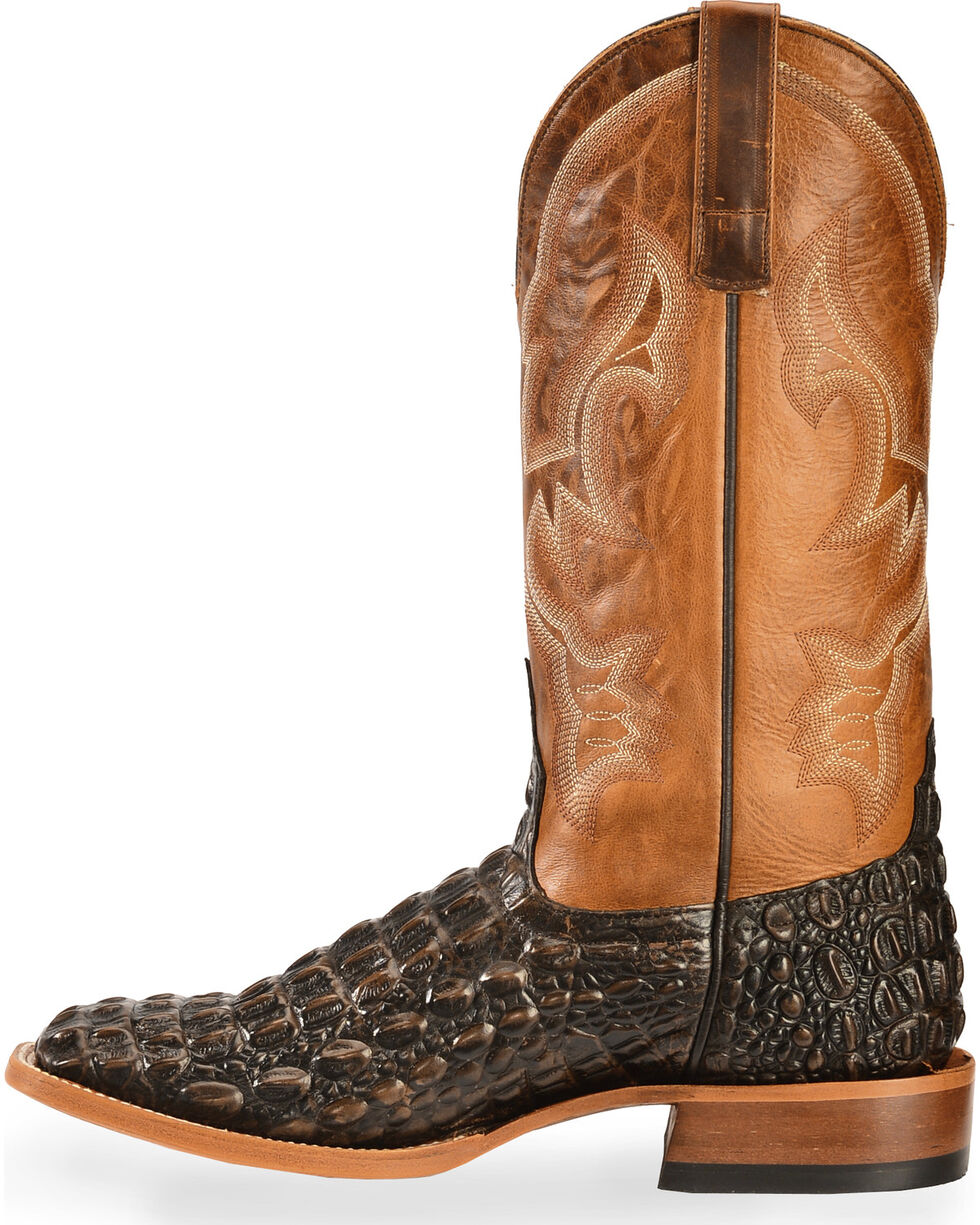 Horse Power Men's Caiman Belly Print Western Boots - Square Toe, Tan, hi-res