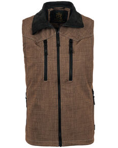 STS Ranchwear By Carroll Men's Softshell Perf Vest - Big , Black/brown, hi-res