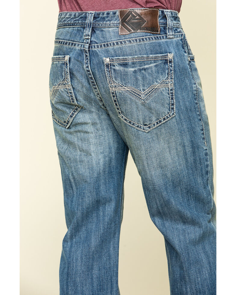 Rock & Roll Cowboy Men's Cannon Light Loose Bootcut Jeans , Blue, hi-res