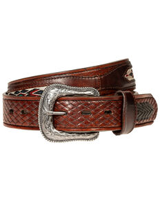 Wrangler Men's 38mm Chevron Lace Belt, Brown, hi-res