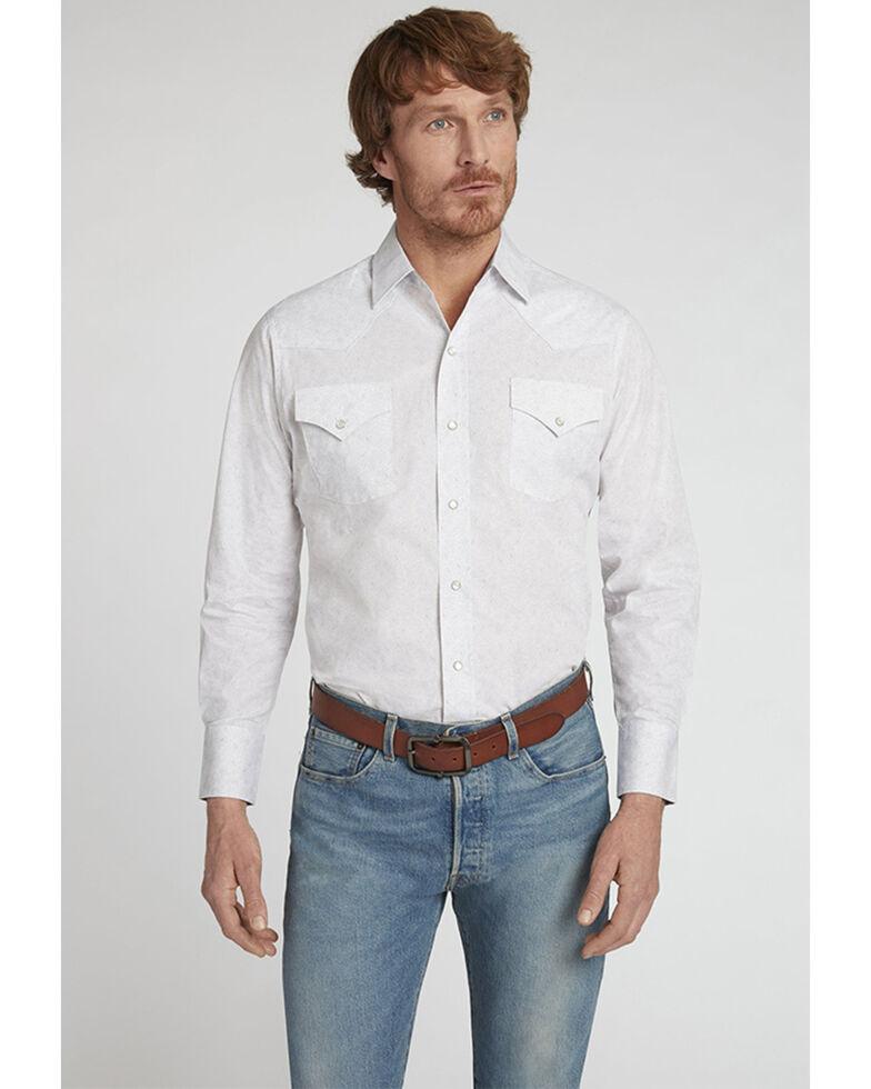 Ely Walker Men's White Paisley Print Long Sleeve Snap Western Shirt , White, hi-res