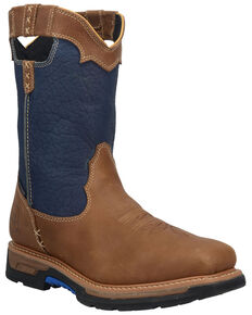 Dan Post Men's Blue Scoop Waterproof Western Work Boots  - Broad Square Toe, Blue, hi-res