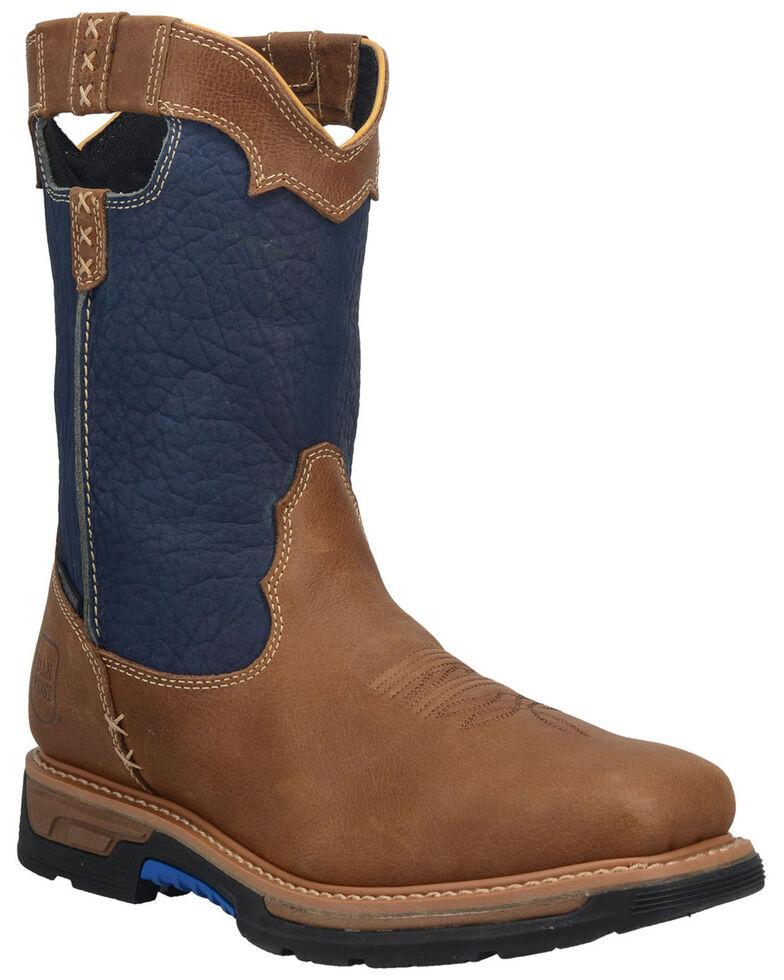 Dan Post Men's Blue Scoop Waterproof Western Work Boots  - Broad Square Toe, Blue, hi-res