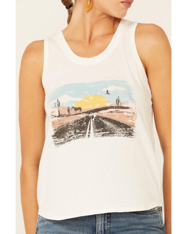Rock & Roll Denim Women's Ivory Desert Road Sunset Graphic Tank Top , Ivory, hi-res