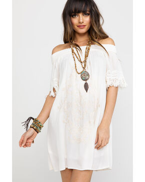 Jolt Women's Embroidered Off Shoulder Tassel Trimmed Sleeve Dress , Ivory, hi-res