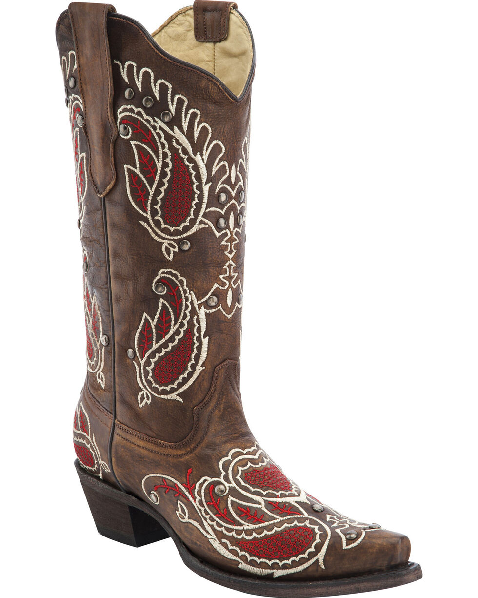 Corral Studded Embroidered Cowgirl Boots - Snip Toe, Brown, hi-res