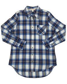 Ely Walker Women's Assorted Plaid Long Sleeve Western Flannel Shirt - Plus, Blue, hi-res