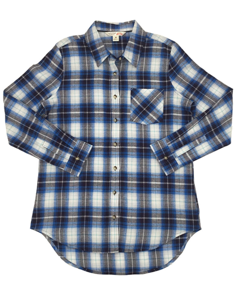 Ely Walker Women's Assorted Plaid Long Sleeve Western Flannel Shirt - Plus, Blue, hi-res