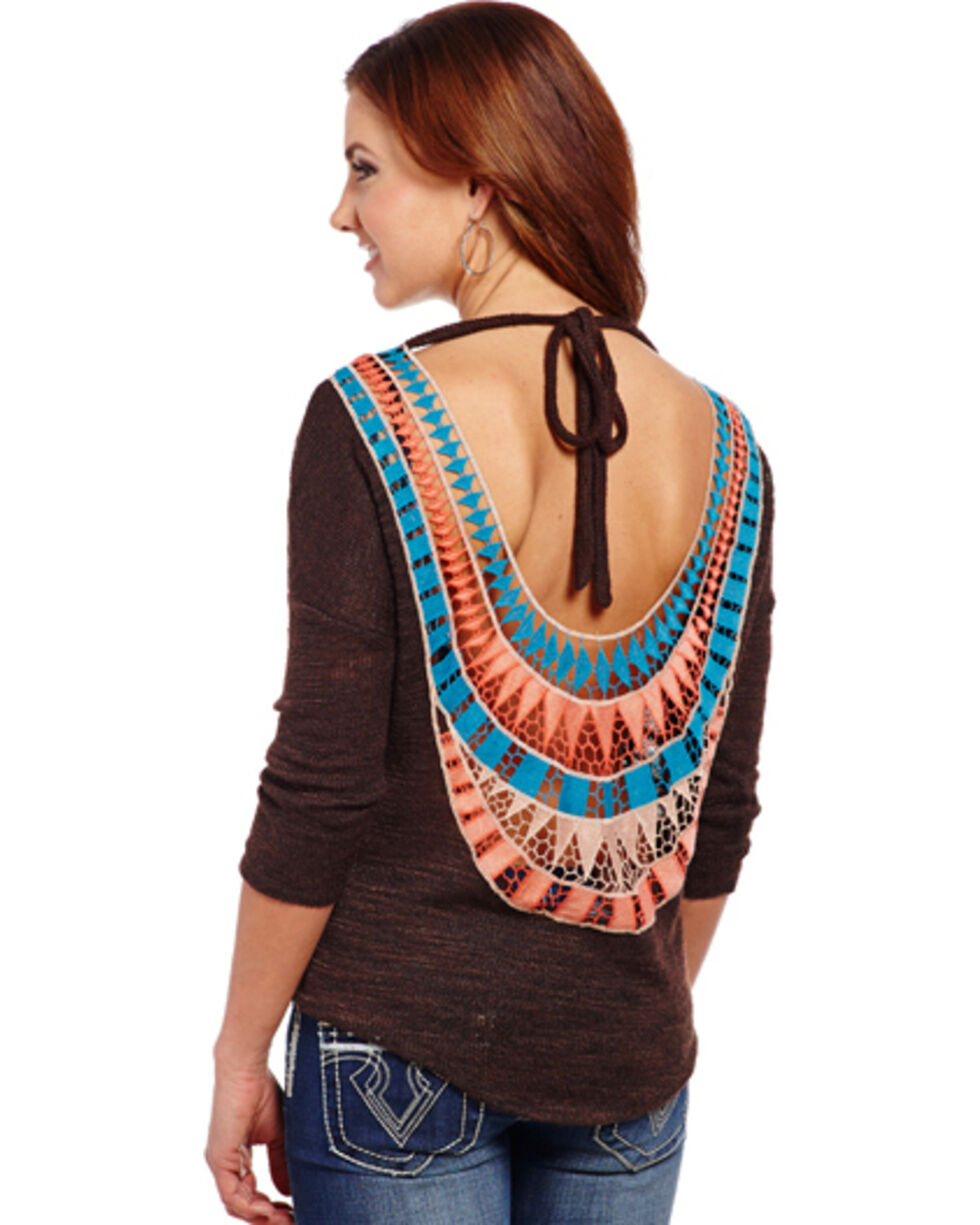 Cowgirl Up Women's Aztec Back Top, Brown, hi-res