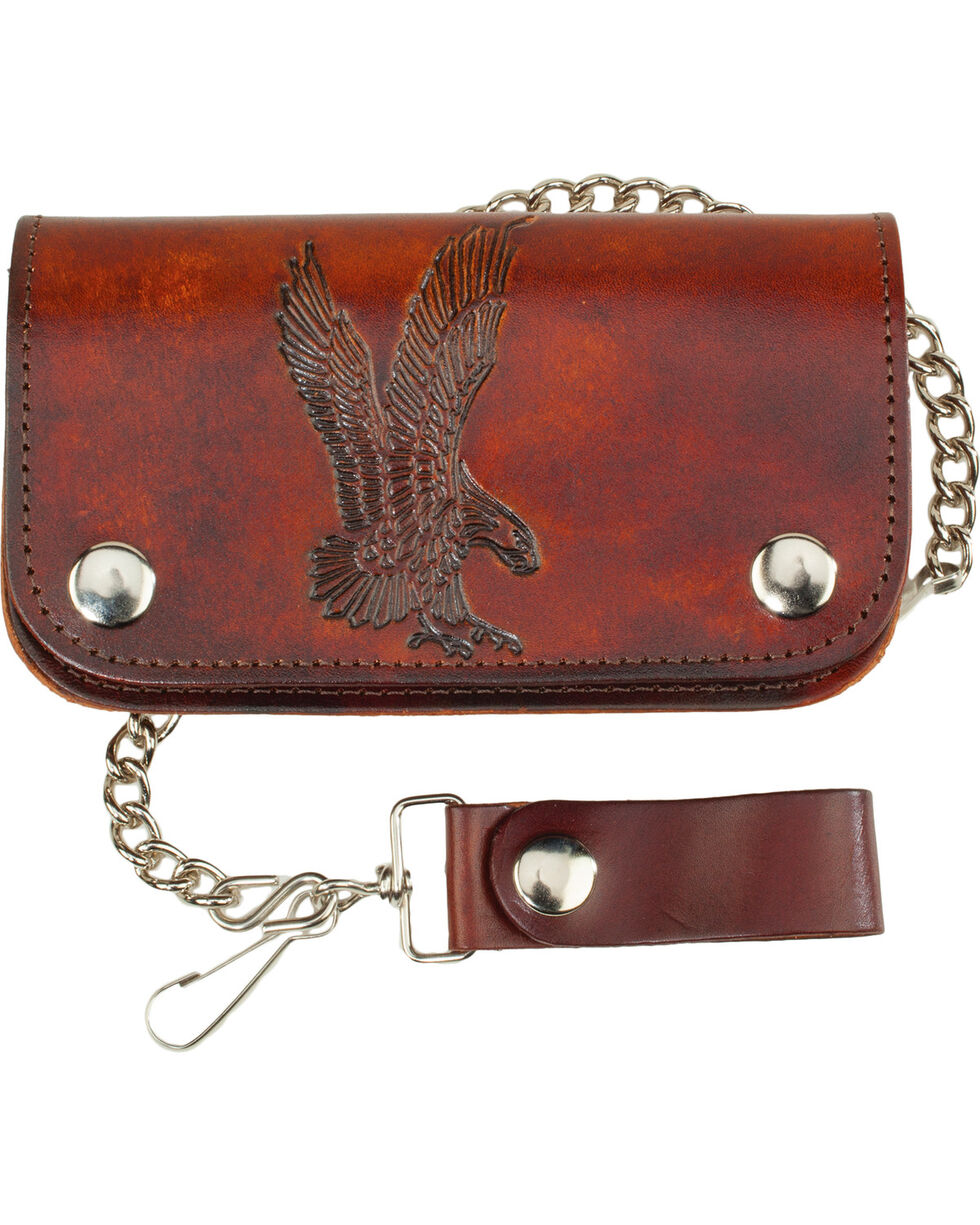 Western Express Men's Brown Leather Eagle Biker Wallet  , Brown, hi-res