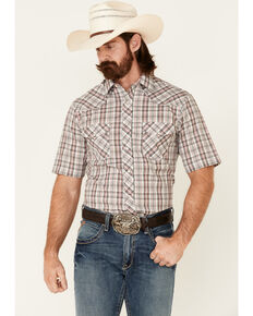 Roper Men's White Classic Small Plaid Short Sleeve Button-Down Western Shirt, White, hi-res