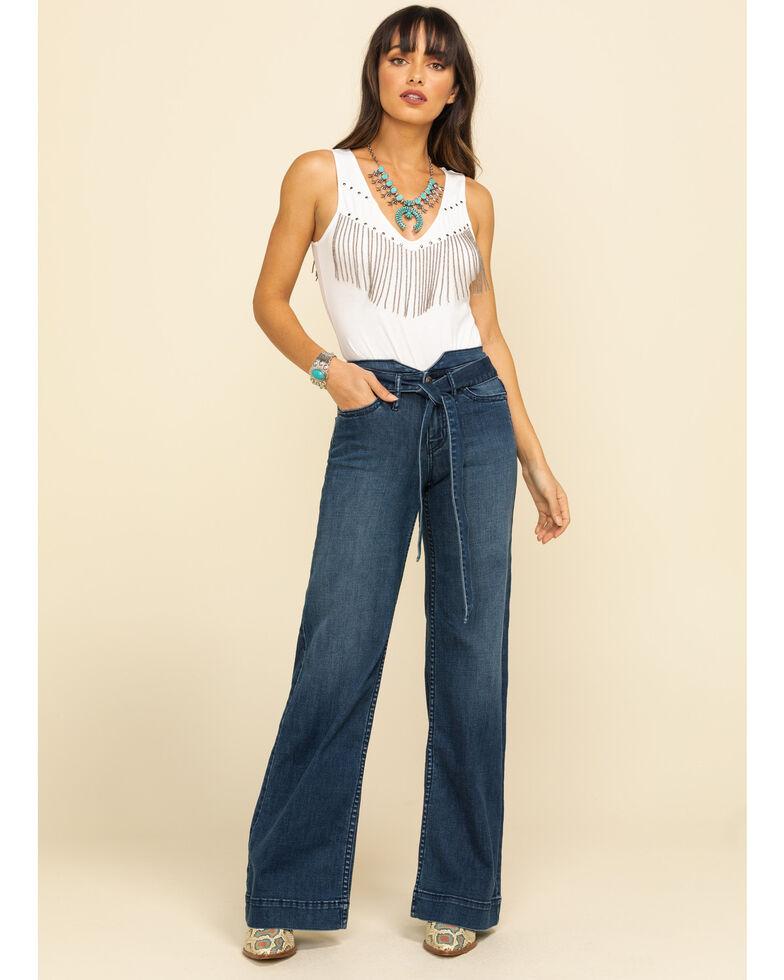 Shyanne Women's High Rise Medium Belted Flare Jeans, Blue, hi-res