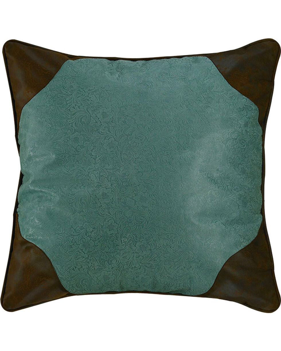 HiEnd Accents Tooled Turquoise Faux Leather Euro Sham, Multi, hi-res