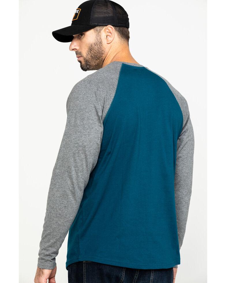 Hawx Men's Charcoal Baseball Raglan Crew Long Sleeve Work Shirt, Charcoal, hi-res