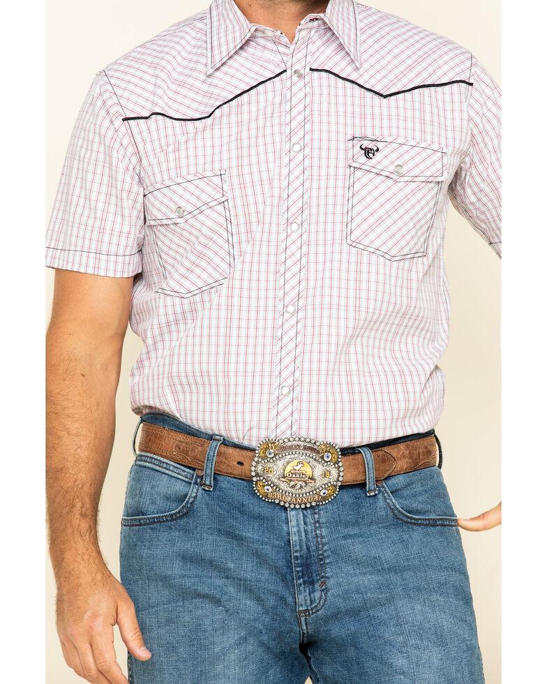 Cowboy Hardware Men's White Rake Plaid Short Sleeve Western Shirt , White, hi-res