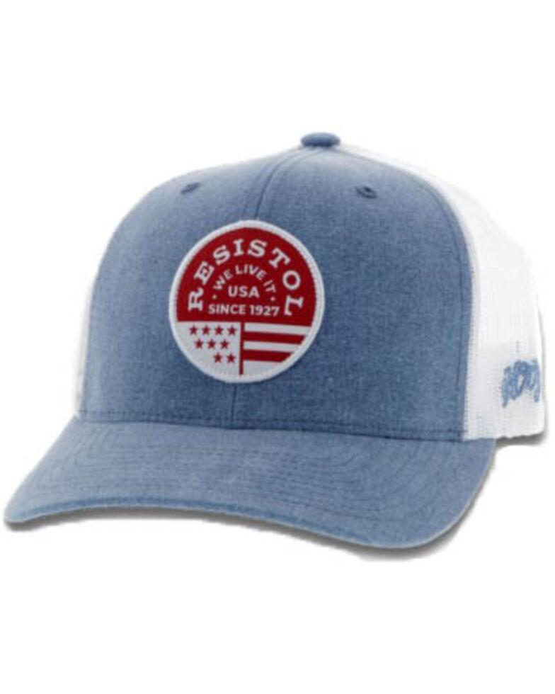 HOOey Men's Resistol Mesh Trucker Cap , Blue, hi-res