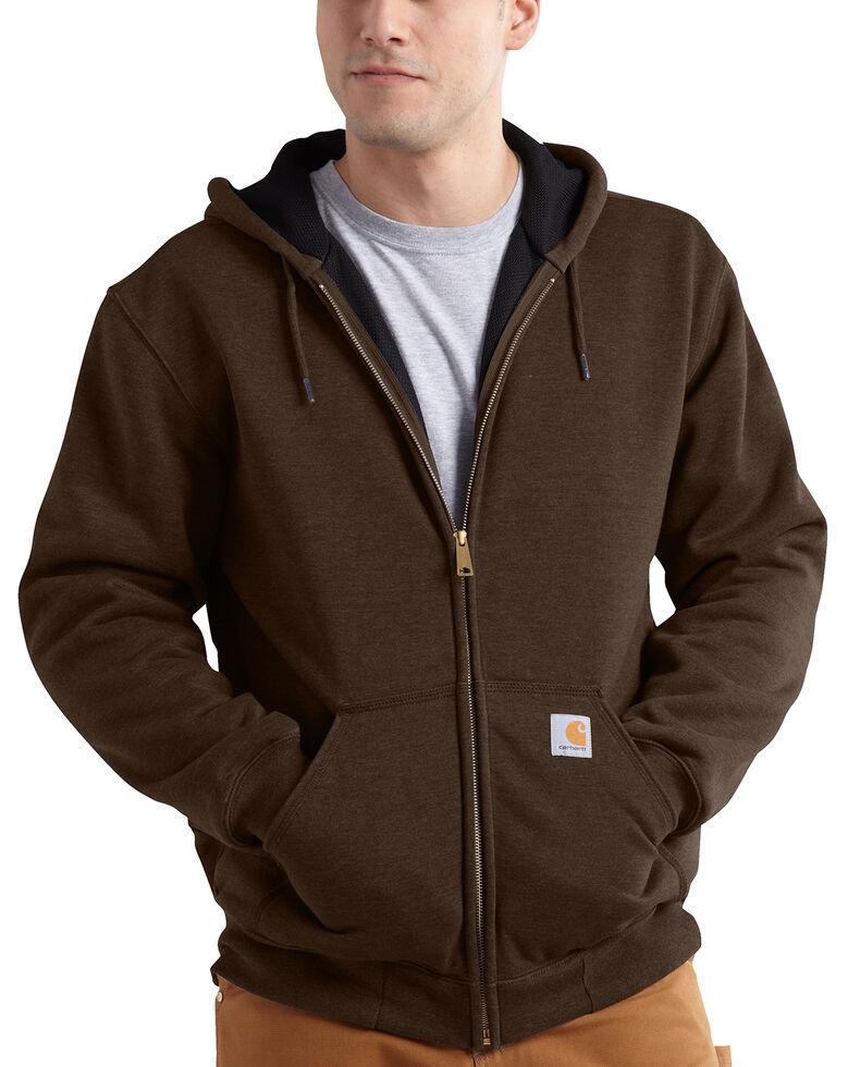 Carhartt Thermal Lined Hooded Zip Jacket - Big & Tall, Dark Brown, hi-res