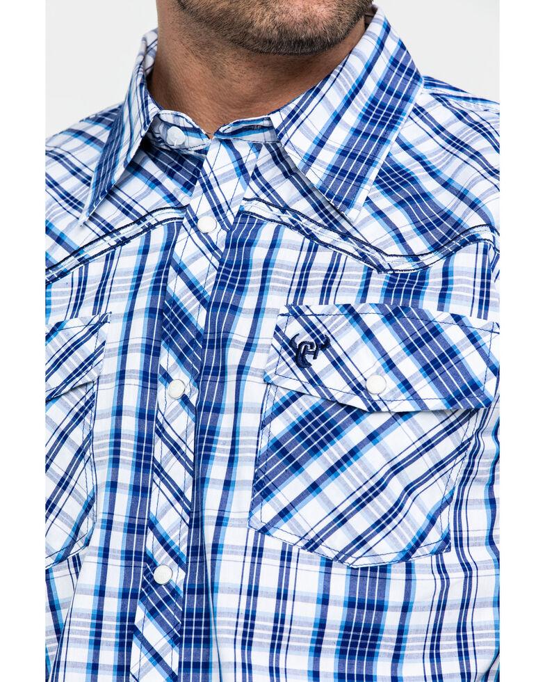 Cowboy Hardware Men's Triple Plaid Short Sleeve Western Shirt , Navy, hi-res