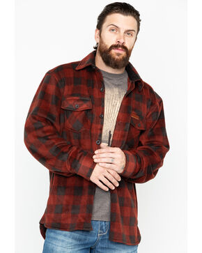 Outback Trading Men's Plaid Fleece Big Shirt Jacket, Red, hi-res