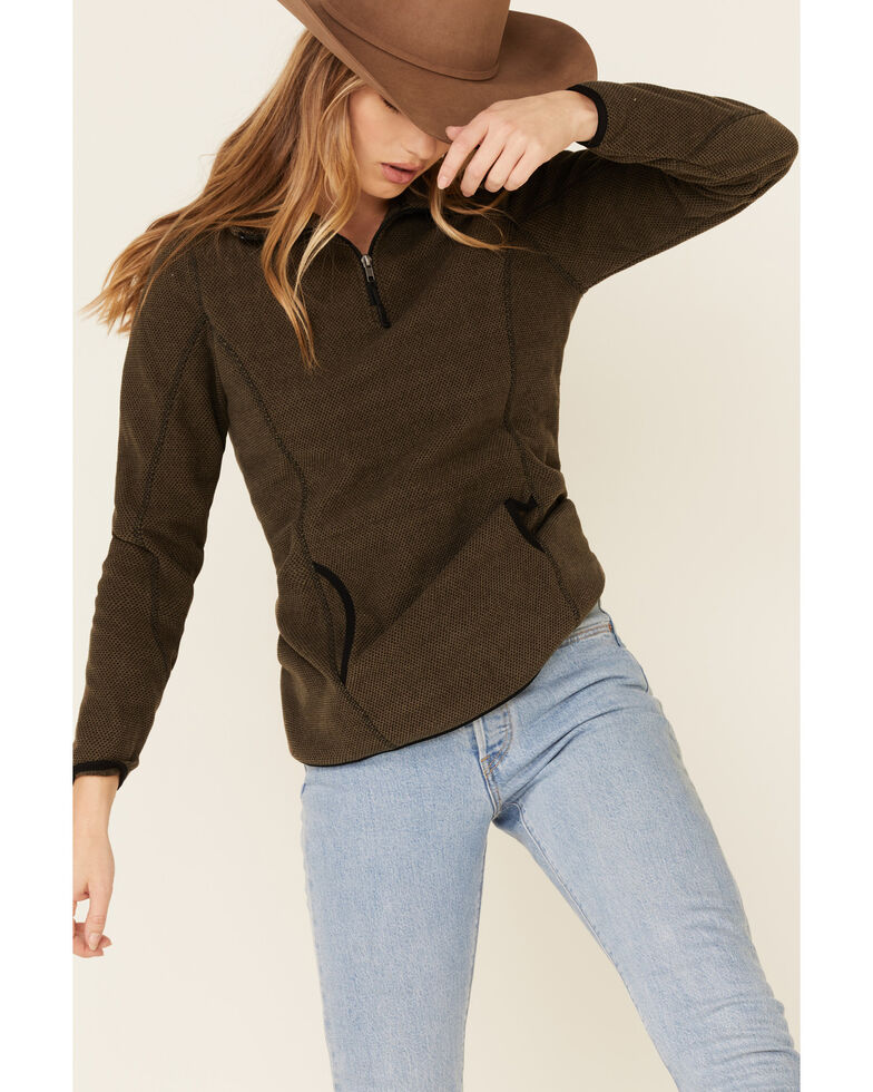 Powder River Outfitters Women's Olive Textured 1/2 Zip Fleece Pullover, Wine, hi-res