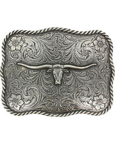 Cody James Men's Texas Longhorn Belt Buckle, Silver, hi-res