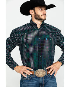 George Strait By Wrangler Men's Small Diamond Geo Print Long Sleeve Western Shirt - Tall , Black, hi-res