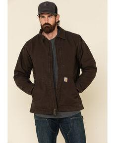 Carhartt Men's Dark Brown Washed Duck Sherpa Lined Work Coat - Big , Dark Brown, hi-res