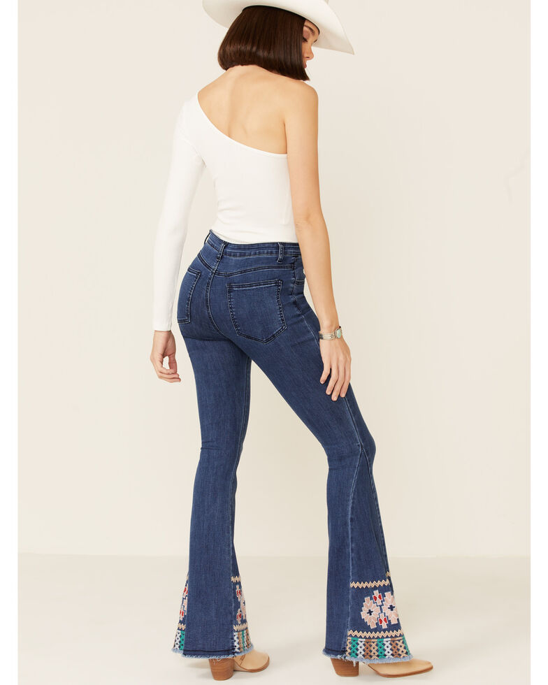 Saints & Hearts Women's Embroidered Hem Flare Jeans, Blue, hi-res