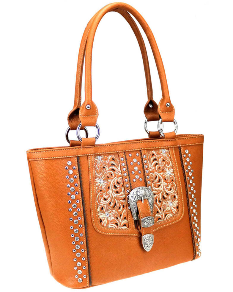 Montana West Women's Brown Buckle Concealed Carry Tote, Brown, hi-res